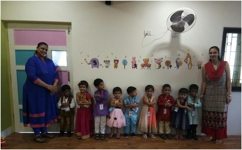 Students of VES DBC Nursery dressed traditionally on account of RakshaBandhan celebration.