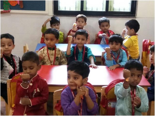 VES DBC Nursery boys showing their rakhis on the account of RakshaBandhan Celebration.